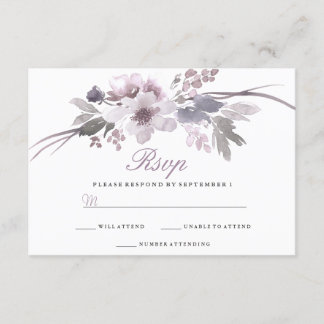 Purple Floral Winter Wedding RSVP