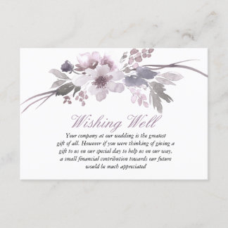 Purple Floral Winter Wedding Wishing Well Enclosure Card