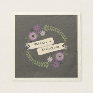 Purple Floral Wreath Banner Wedding Napkins Disposable Napkin