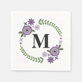 Purple Floral Wreath Monogram Wedding Napkins Disposable Napkin