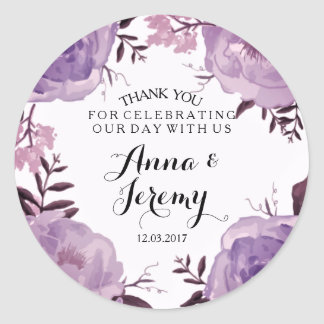 Purple Fl Wreath Wedding Sticker