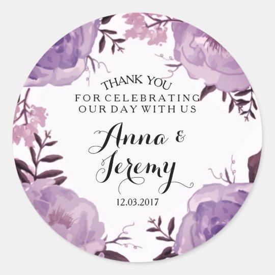 purple floral wreath wedding sticker