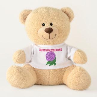 Purple Floral XO Teddy Bear