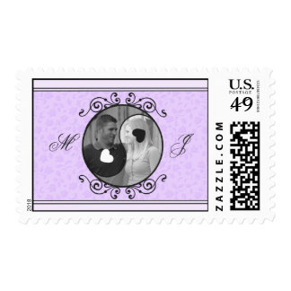Purple Floral Yin and Yang Photo Wedding Postage