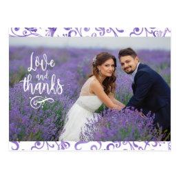 Purple Flourish Border Two Photo Wedding Thank You Postcard