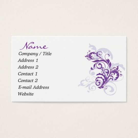 Purple Flourish Business Cards
