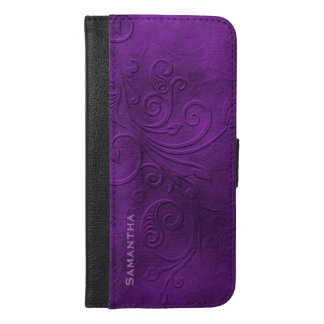 Purple Flourish iPhone 6 Plus Wallet Case