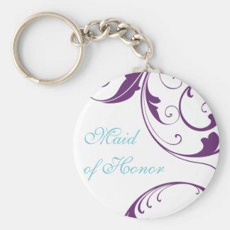 Purple Flourish Maid of Honor Keychain