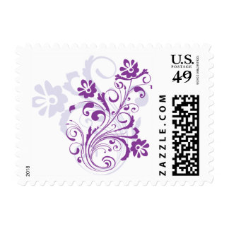 Purple Flourish Postage Stamps