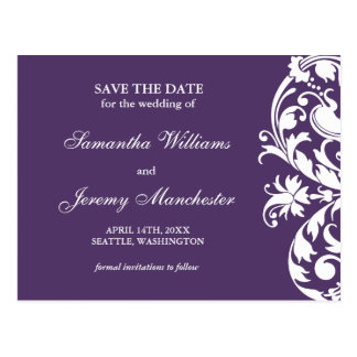 Purple Flourish Swirl Save The Date Announcement Postcard