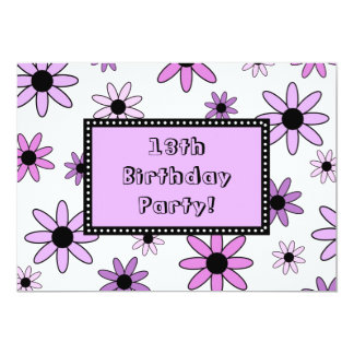 "Purple Flower 13th Birthday Party Invitation Cards 5"" X 7"" Invitation Card"