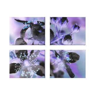 Purple Flower Abstract Triptych Canvas Print