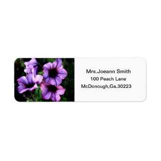 PURPLE FLOWER ADDRESS LABLES LABEL