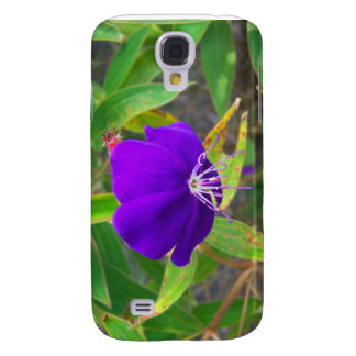 purple flower against green plant design samsung galaxy s4 cover