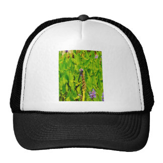 Purple flower and Blue Dragonfly Mesh Hat