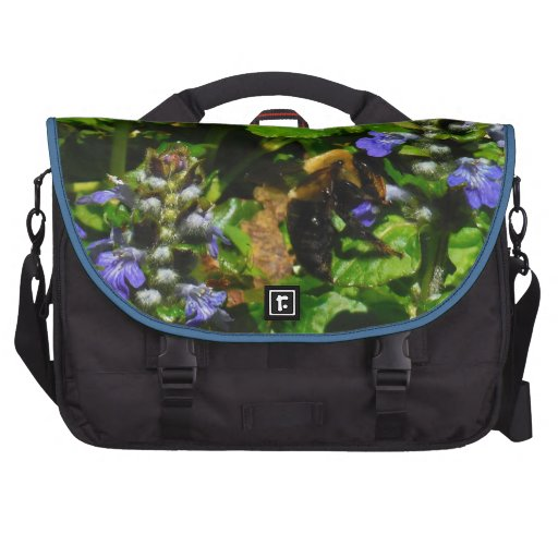 Purple Flower and Bumble Bee Computer Bag
