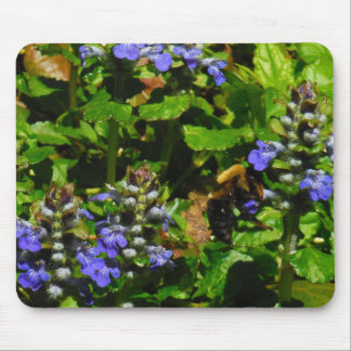 Purple Flower and Bumble Bee Mouse Pad