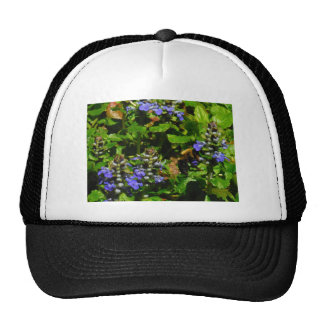 Purple Flower and Bumble Bee Trucker Hat