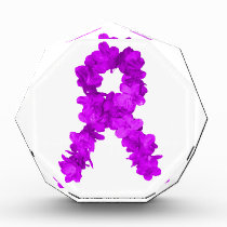 Purple Flower Awareness Ribbon Acrylic Award