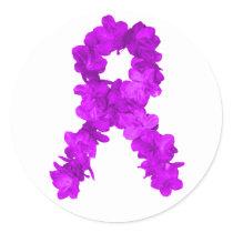 Purple Flower Awareness Ribbon Classic Round Sticker