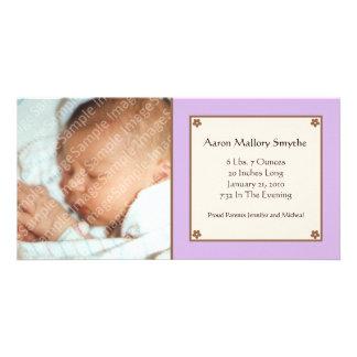 Purple Flower Baby Photo Card