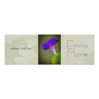 Purple Flower Baby Shower Banner/Nursery Art Poster