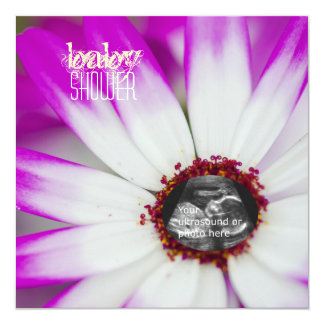 Purple Flower Baby Shower Ultrasound Invitation
