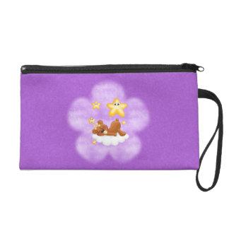 Purple Flower Bear Wristlet