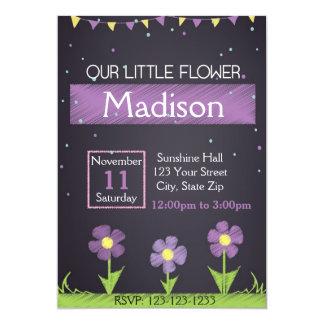 Purple Flower Birthday Invitation