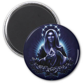 Purple Flower Blessed Virgin Mary 2 Inch Round Magnet