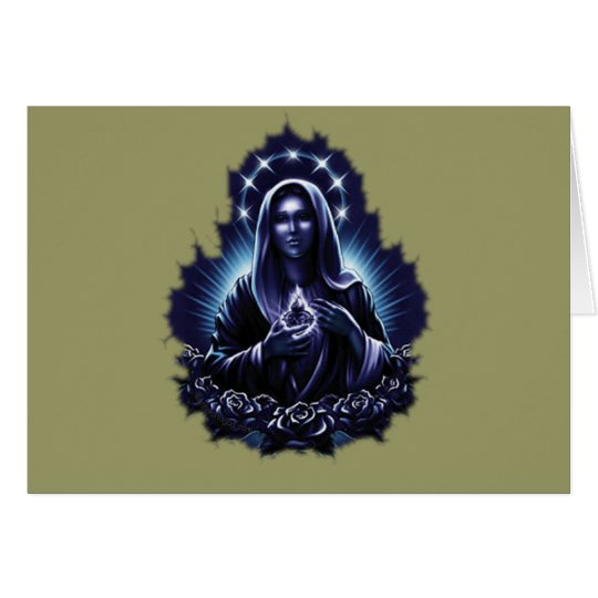 Purple Flower Blessed Virgin Mary Card