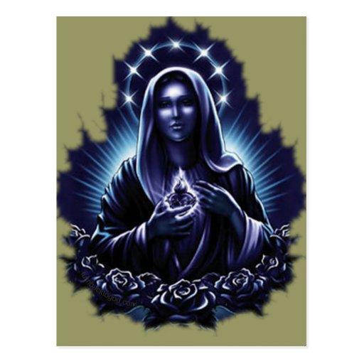 Purple Flower Blessed Virgin Mary Postcards