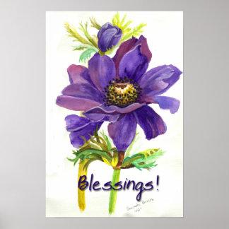 Purple flower blessings poster