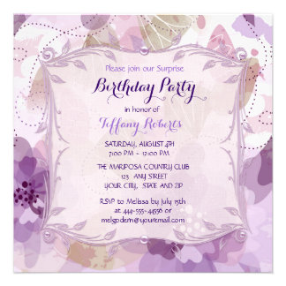 Purple Flower Blossoms Birthday Party Personalized Announcements