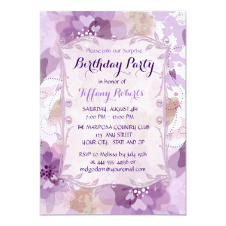 Purple Flower Blossoms Birthday Party Custom Announcements
