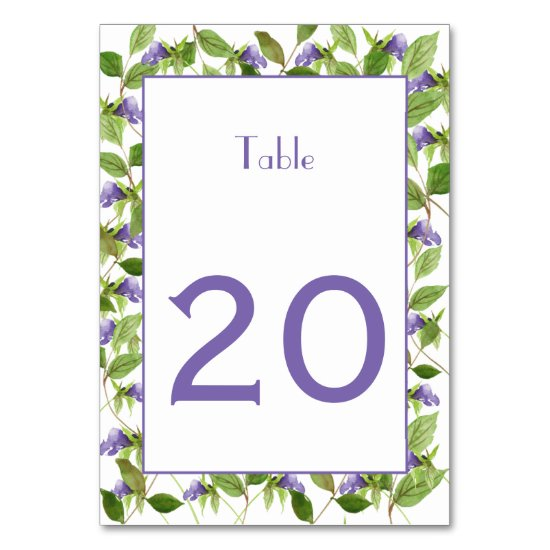 Purple Flower Blossoms Green Leaves Table Cards