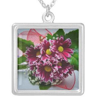 Purple flower bouquet necklaces