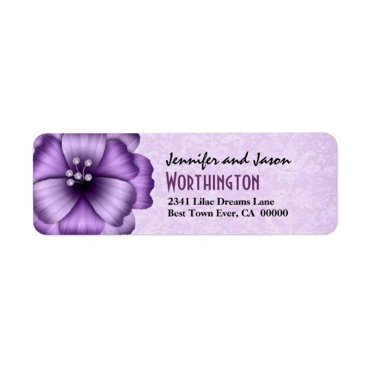 Purple Flower Bow Modern Lettering Label