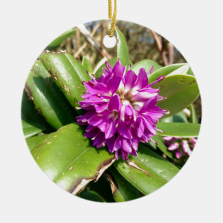 Purple flower ceramic ornament