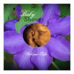 """Purple """"Flower Child"""" Sonogram Baby Shower Invite"""