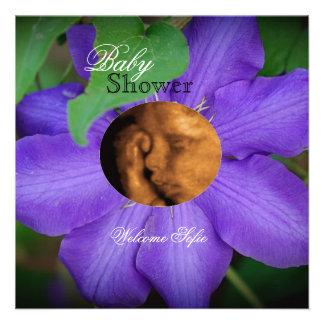 Purple Flower Child Sonogram Baby Shower Invite