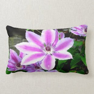 Purple Flower Clematis Lumbar Mojo Pillow