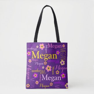 Purple flower custom name Megan art tote bag