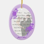 Purple Flower Custom Oval Ornament