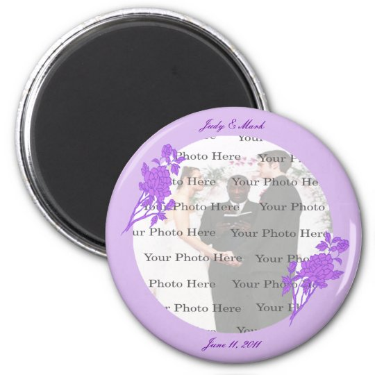 Purple Flower Custom Round Magnet