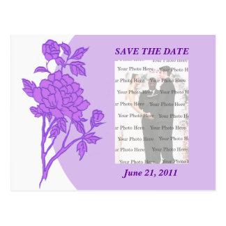 Purple Flower Custom Save The Date Postcard