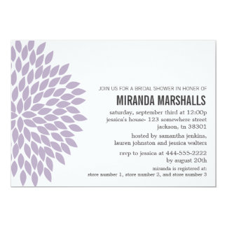 "Purple Flower Design Bridal Shower Invitations 5"" X 7"" Invitation Card"