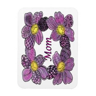Purple Flower Doodled MOM Design Magnet