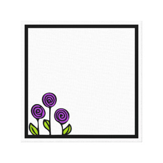 Purple Flower Drawing Painting Canvas Print