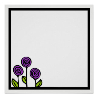 Purple Flower Drawing Poster